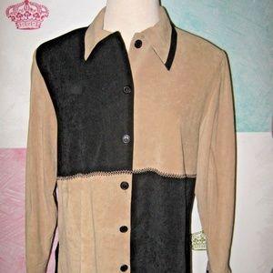 Black Camel Tan Micro Suede Button Jacket Top 18W